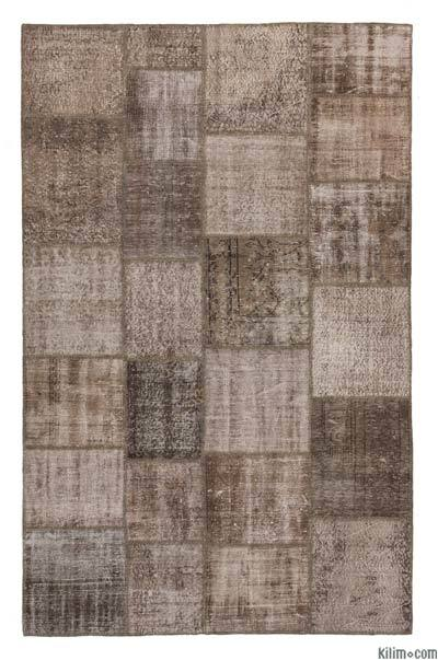 """Over-dyed Turkish Patchwork Rug - 6' 4"""" x 9' 11"""" (76 in. x 119 in.)"""