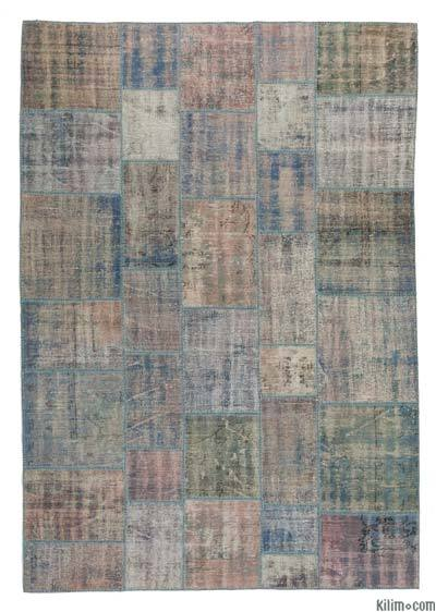 "Over-dyed Turkish Patchwork Rug - 6'8"" x 9'7"" (80 in. x 115 in.)"