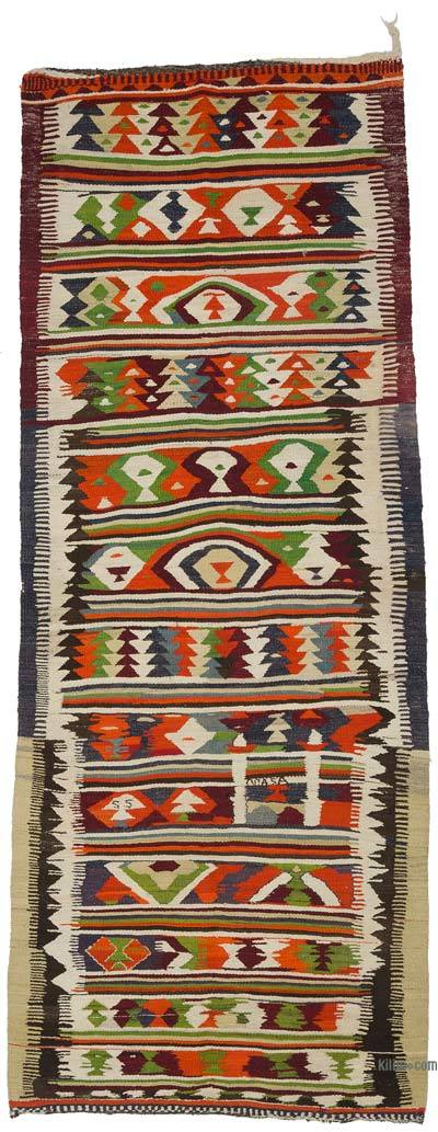"Vintage Turkish Kilim Runner - 3'10"" x 10' (46 in. x 120 in.)"