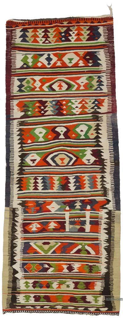 "Multicolor Vintage Turkish Kilim Runner - 4' 1"" x 10' 3"" (49 in. x 123 in.)"