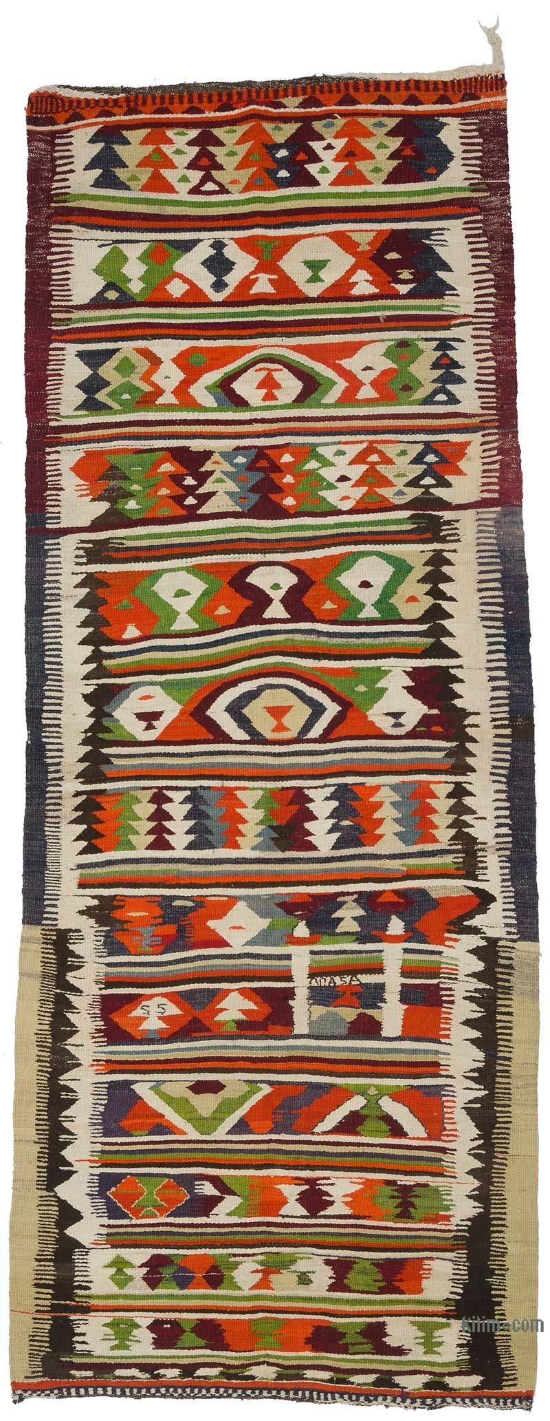 Multicolor Vintage Turkish Kilim Runner - 4' 1# x 10' 3# (49 in. x 123 in.) - K0016124