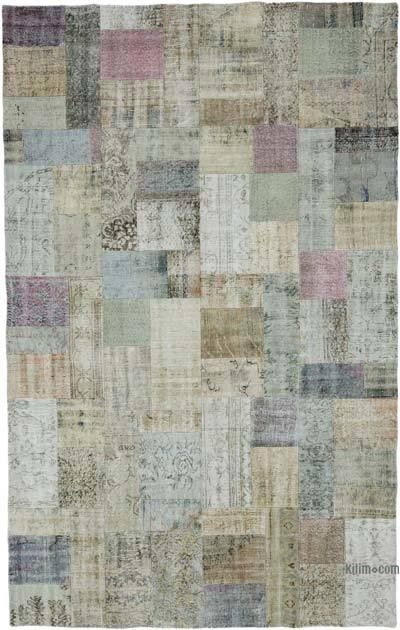 "Over-dyed Turkish Patchwork Rug - 7'6"" x 12' (90 in. x 144 in.)"
