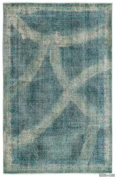 """Over-dyed Turkish Vintage Rug - 5'8"""" x 8'9"""" (68 in. x 105 in.)"""