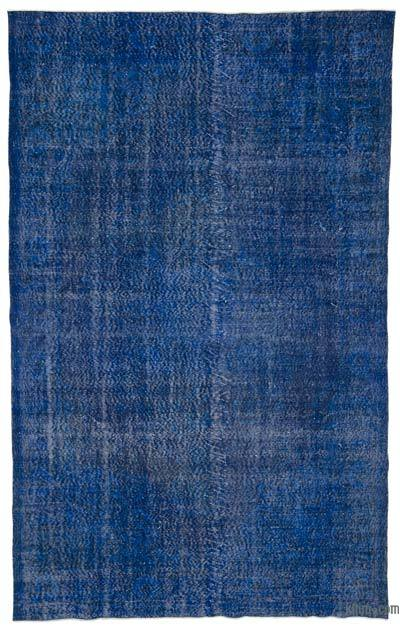 "Blue Over-dyed Turkish Vintage Rug - 6' 5"" x 10' 4"" (77 in. x 124 in.)"