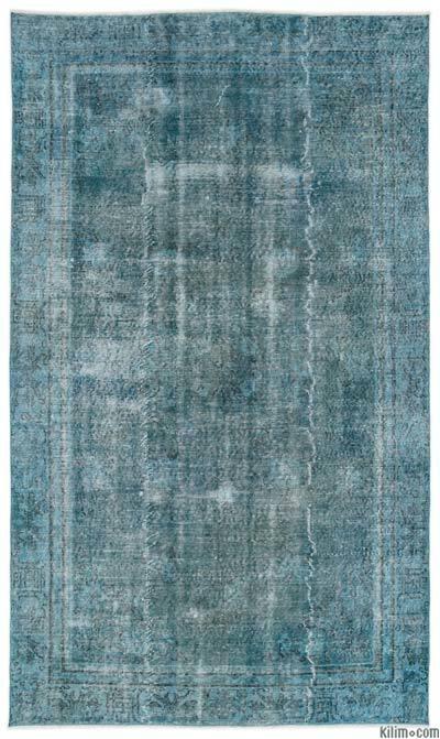 Boyalı El Dokuma Vintage Halı - 162 cm x 274 cm