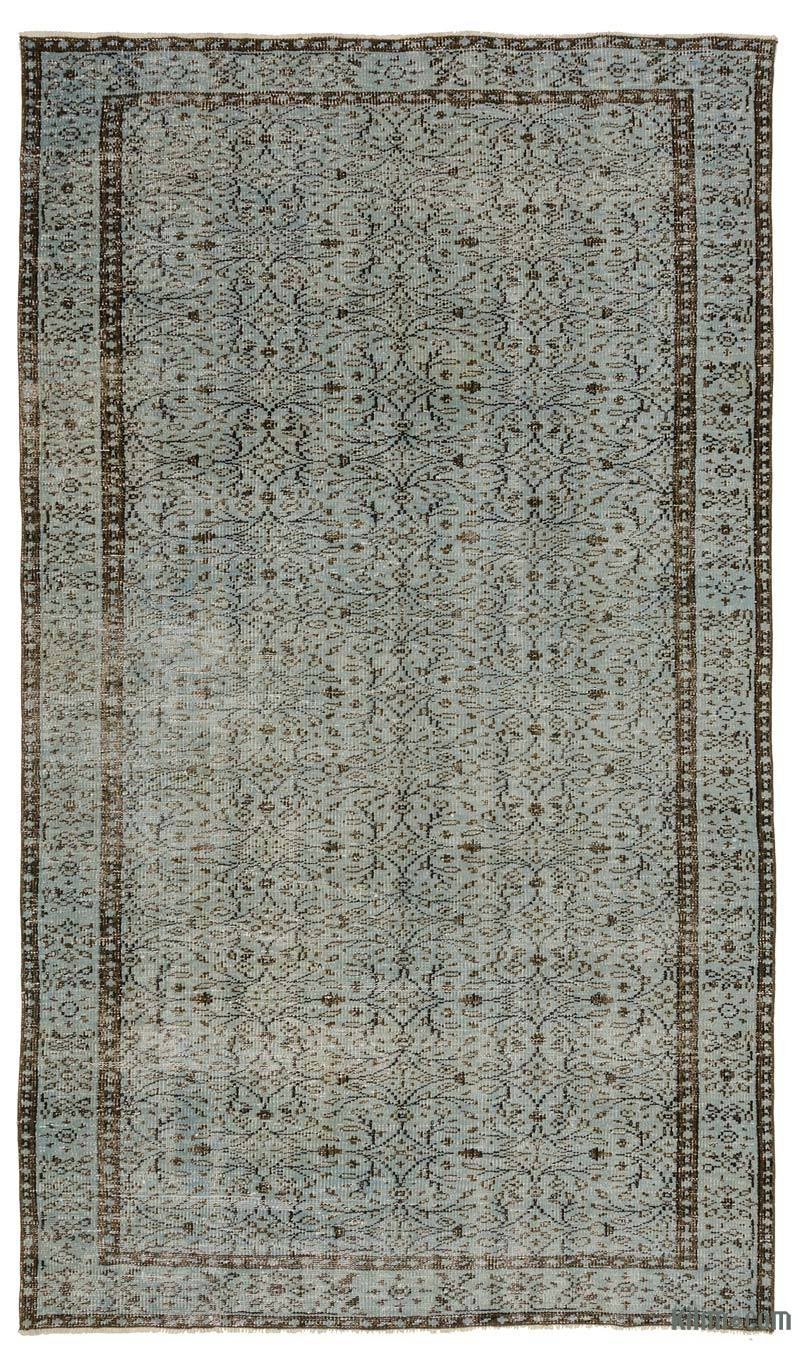 """Blue Over-dyed Turkish Vintage Rug - 4' 10"""" x 8' 6"""" (58 in. x 102 in.) - K0017265"""