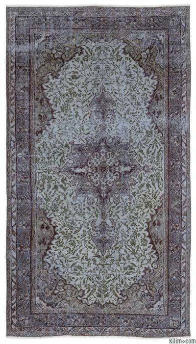 """Over-dyed Turkish Vintage Rug - 5'2"""" x 9'5"""" (62 in. x 113 in.)"""
