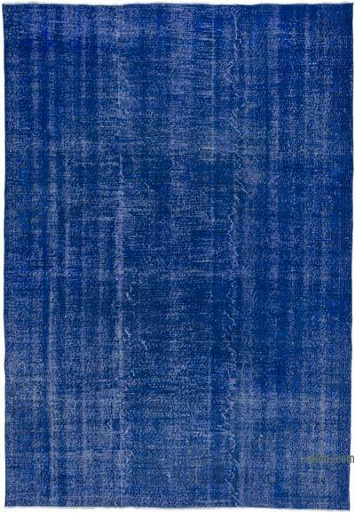 Mavi Boyalı El Dokuma Vintage Halı - 212 cm x 309 cm
