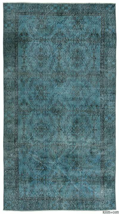 Boyalı El Dokuma Vintage Halı - 144 cm x 271 cm