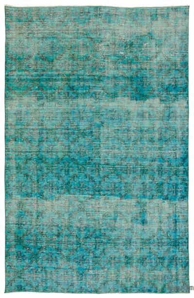 "Aqua Over-dyed Turkish Vintage Rug - 5' 5"" x 8' 6"" (65 in. x 102 in.)"