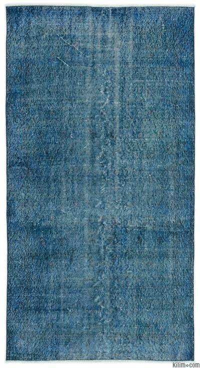 Boyalı El Dokuma Vintage Halı - 110 cm x 207 cm