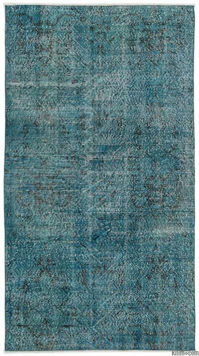 Boyalı El Dokuma Vintage Halı - 115 cm x 211 cm