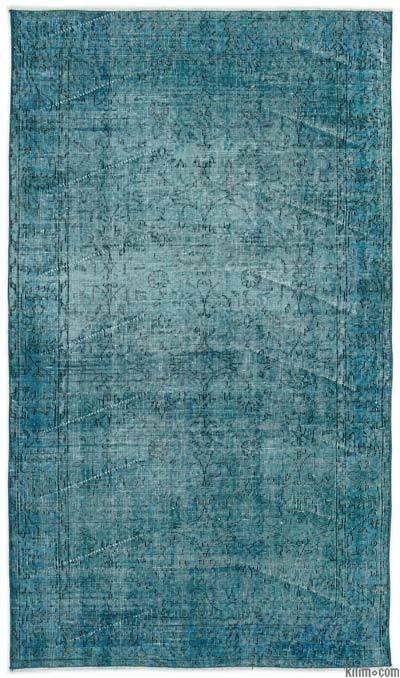 Boyalı El Dokuma Vintage Halı - 118 cm x 208 cm