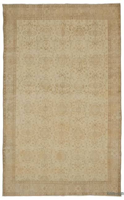 "Beige Over-dyed Turkish Vintage Rug - 6' 2"" x 10'  (74 in. x 120 in.)"