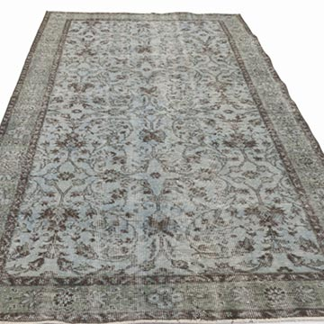 """Blue Over-dyed Turkish Vintage Rug - 5' 1"""" x 8' 6"""" (61 in. x 102 in.) - K0017896"""
