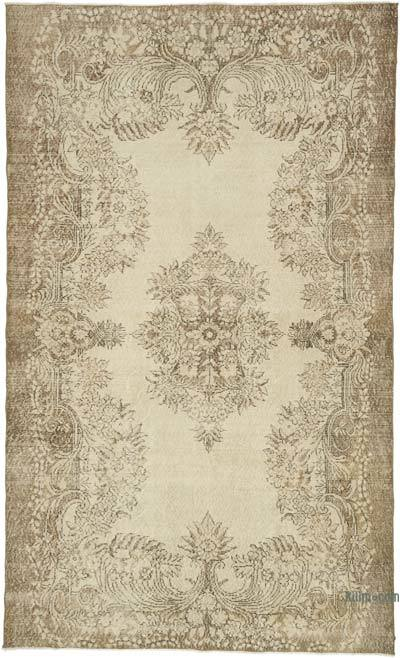 "Beige Over-dyed Turkish Vintage Rug - 5' 11"" x 9' 10"" (71 in. x 118 in.)"