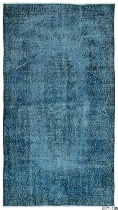Boyalı El Dokuma Vintage Halı - 115 cm x 206 cm