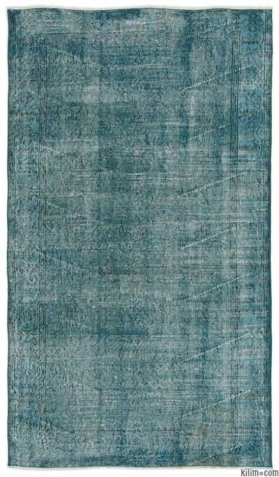 Boyalı El Dokuma Vintage Halı - 118 cm x 207 cm