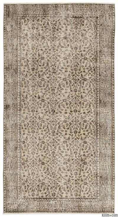 Boyalı El Dokuma Vintage Halı - 110 cm x 206 cm