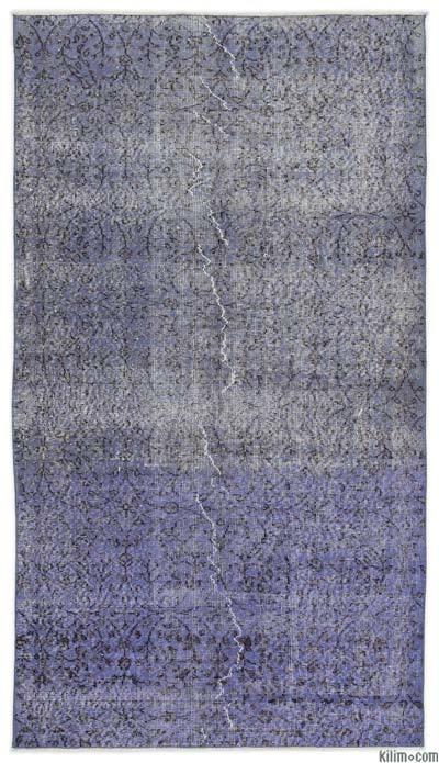 Boyalı El Dokuma Vintage Halı - 111 cm x 201 cm