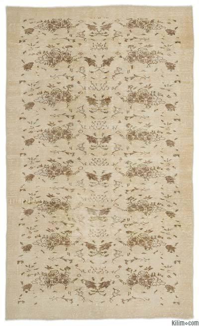 Boyalı El Dokuma Vintage Halı - 163 cm x 268 cm