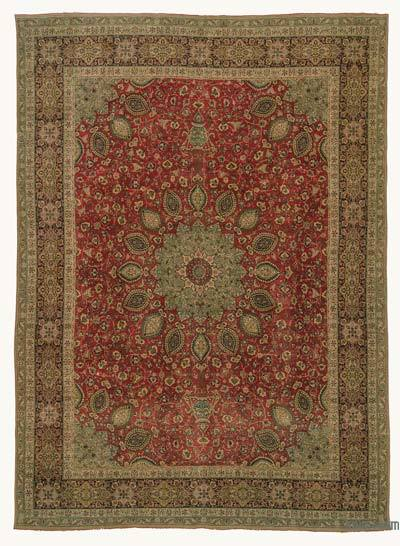 """Vintage Hand-knotted Oriental Rug - 9' 2"""" x 12' 6"""" (110 in. x 150 in.)"""