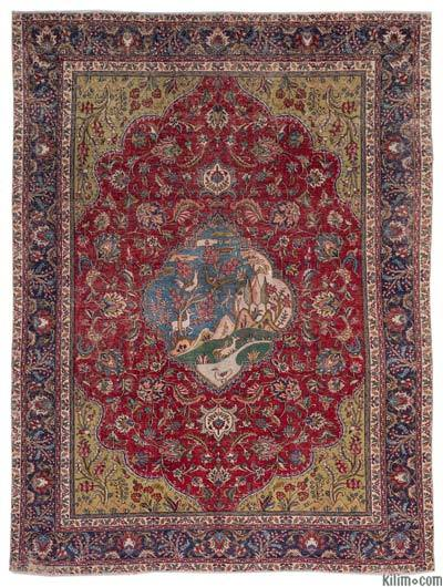"""Vintage Hand-knotted Oriental Rug - 9'7"""" x 12'11"""" (115 in. x 155 in.)"""