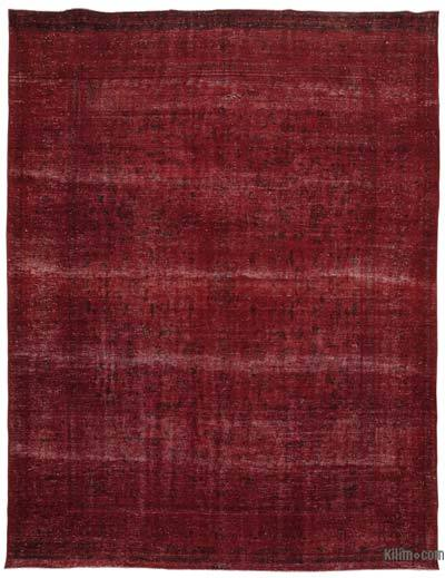 """Red Over-dyed Vintage Hand-knotted Oriental Rug - 10'  x 13' 1"""" (120 in. x 157 in.)"""