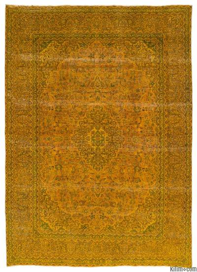 """Yellow Over-dyed Vintage Hand-knotted Oriental Rug - 9' 7"""" x 13' 1"""" (115 in. x 157 in.)"""