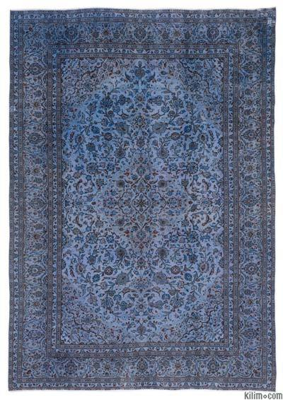 """Blue Over-dyed Vintage Hand-knotted Oriental Rug - 9' 5"""" x 13' 1"""" (113 in. x 157 in.)"""