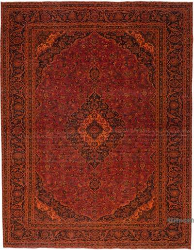"Orange Over-dyed Vintage Hand-knotted Oriental Rug - 9' 8"" x 12' 6"" (116 in. x 150 in.)"
