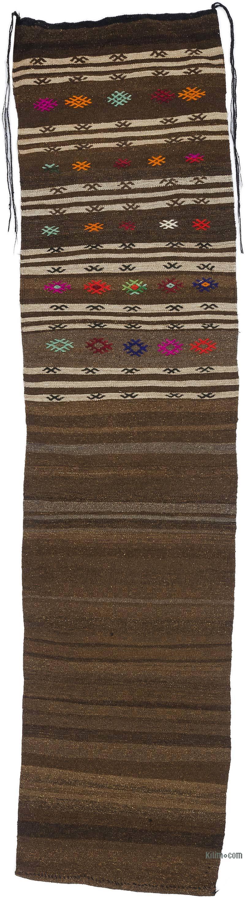 "Brown Vintage Turkish Kilim Runner - 2' 2"" x 9'  (26 in. x 108 in.) - K0018607"