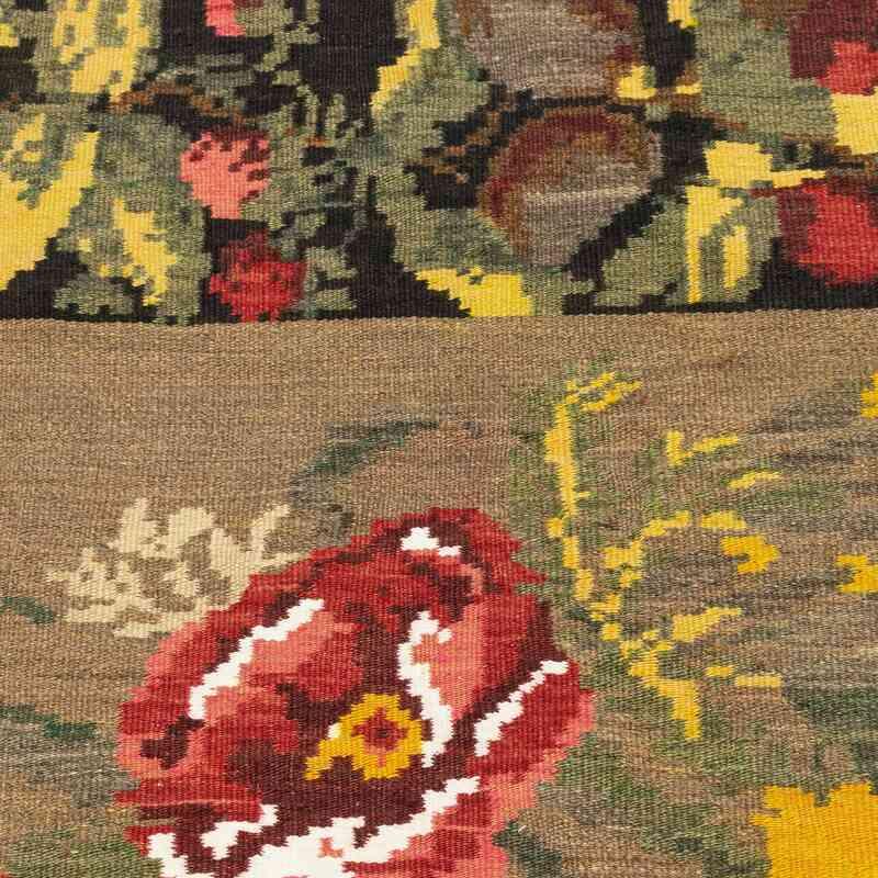"""Green Vintage Moldavian Kilim Rug - 4' 7"""" x 6' 7"""" (55 in. x 79 in.) - K0018630"""