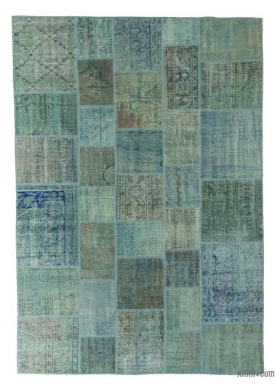 "Patchwork Hand-Knotted Turkish Rug - 6' 8"" x 9' 7"" (80 in. x 115 in.)"