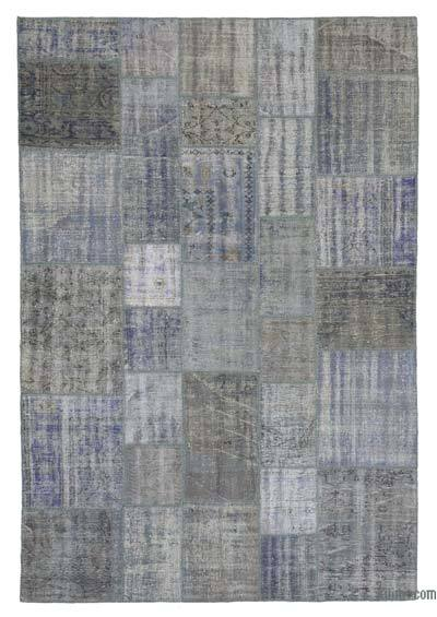 "Over-dyed Turkish Patchwork Rug - 6'9"" x 9'11"" (81 in. x 119 in.)"