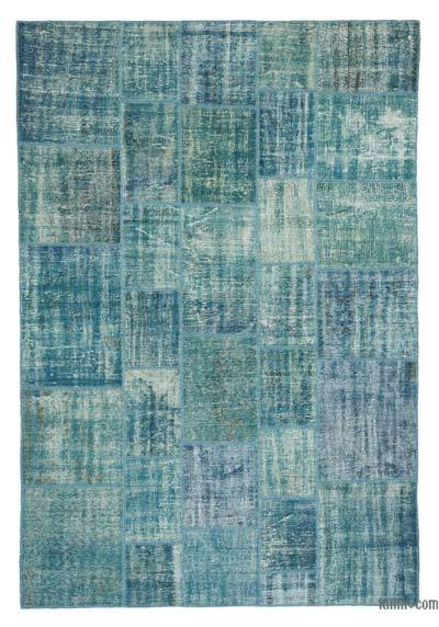 "Over-dyed Turkish Patchwork Rug - 6' 9"" x 9' 11"" (81 in. x 119 in.)"
