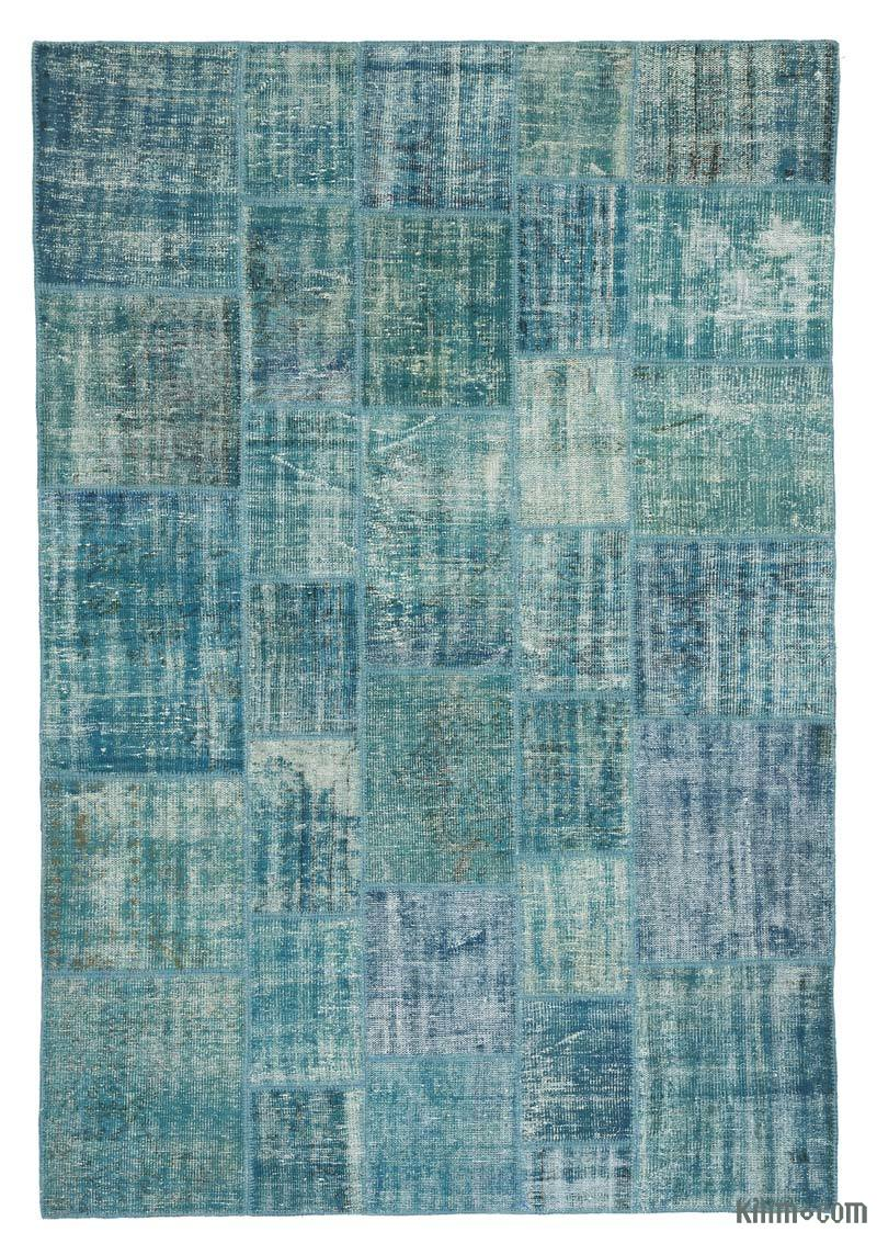 """Patchwork Hand-Knotted Turkish Rug - 6' 9"""" x 9' 11"""" (81 in. x 119 in.) - K0018694"""