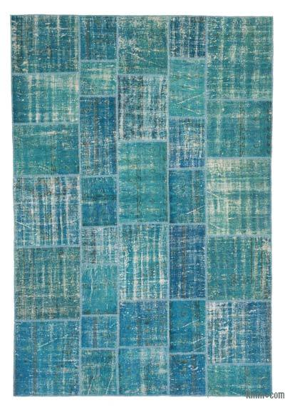 "Over-dyed Turkish Patchwork Rug - 6'9"" x 9'10"" (81 in. x 118 in.)"
