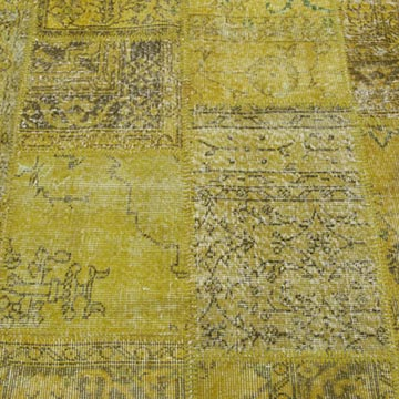 """Yellow Patchwork Hand-Knotted Turkish Rug - 8' 1"""" x 10' 1"""" (97 in. x 121 in.) - K0018700"""