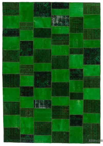 """Over-dyed Turkish Patchwork Rug - 7'9"""" x 11'3"""" (93 in. x 135 in.)"""