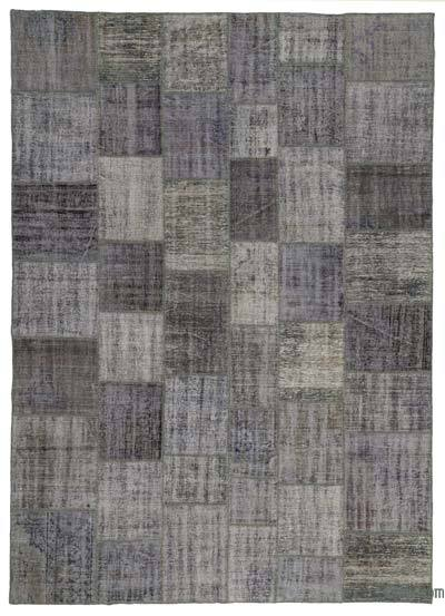 """Grey Patchwork Hand-Knotted Turkish Rug - 8' 2"""" x 11' 6"""" (98 in. x 138 in.)"""