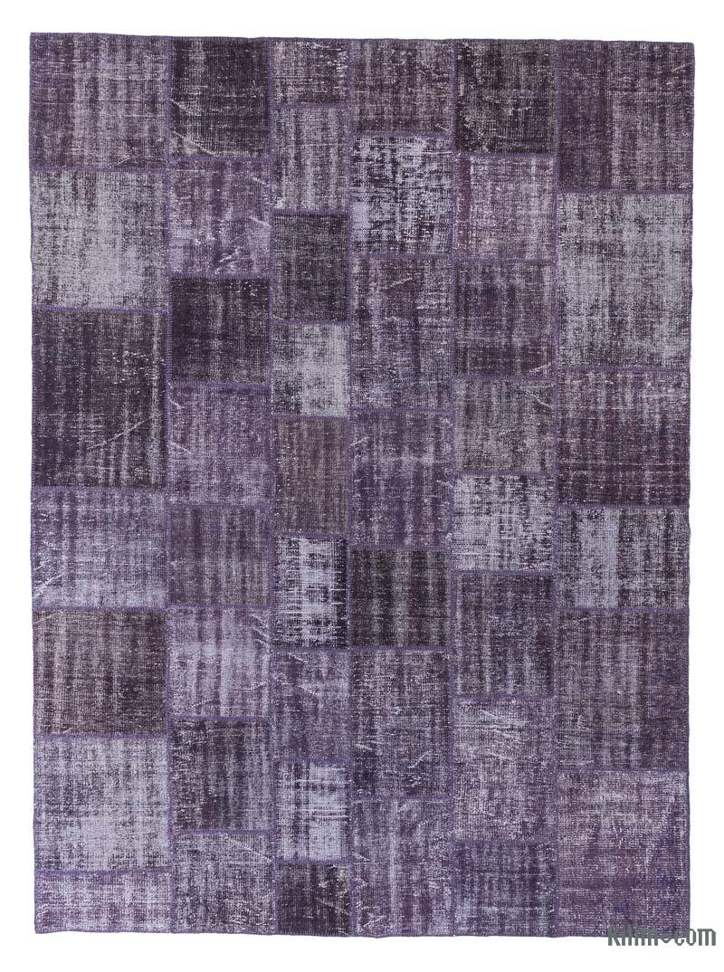 """Purple Patchwork Hand-Knotted Turkish Rug - 8' 5"""" x 11' 6"""" (101 in. x 138 in.) - K0018735"""
