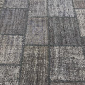 """Grey Patchwork Hand-Knotted Turkish Rug - 8' 3"""" x 11' 7"""" (99 in. x 139 in.) - K0018738"""