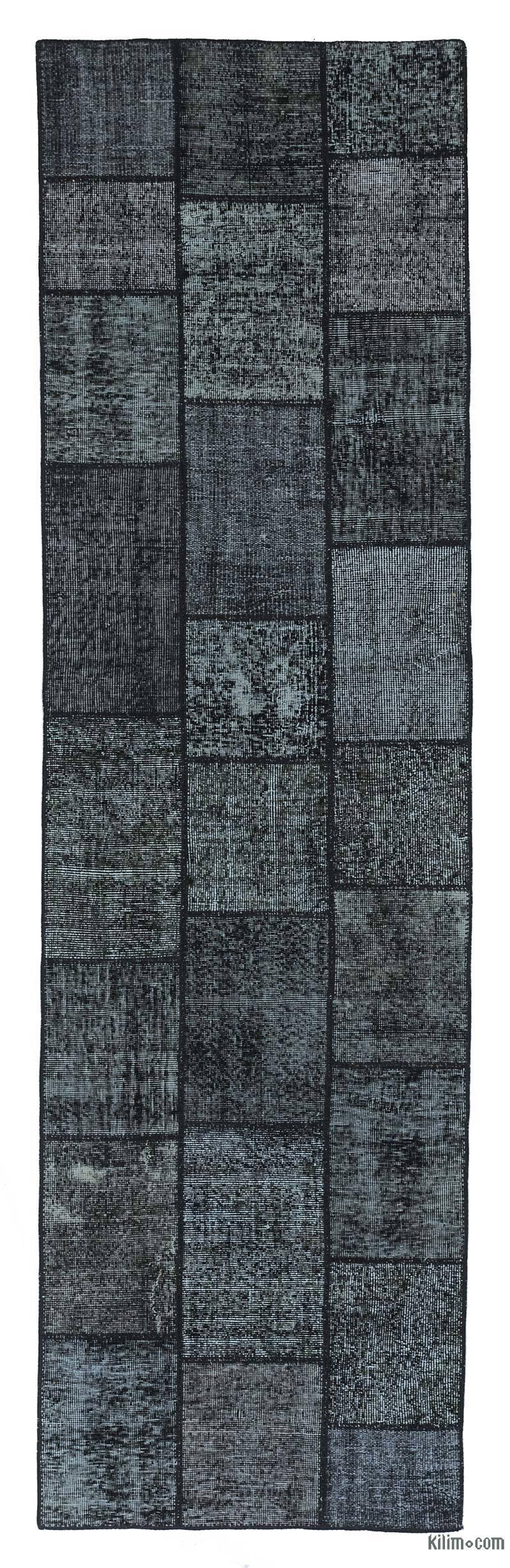 Black Over-dyed Turkish Patchwork Runner Rug - K0018755