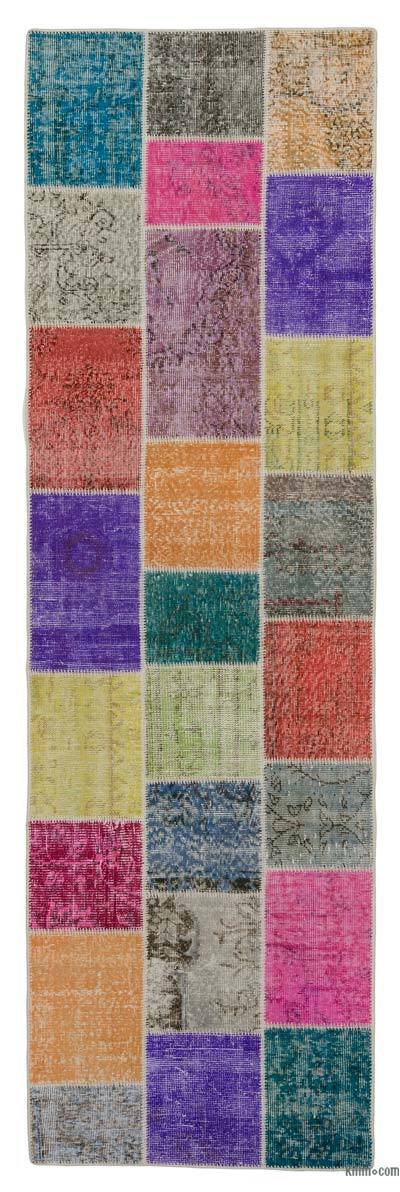 "Over-dyed Turkish Patchwork Runner Rug - 3'  x 9' 10"" (36 in. x 118 in.)"