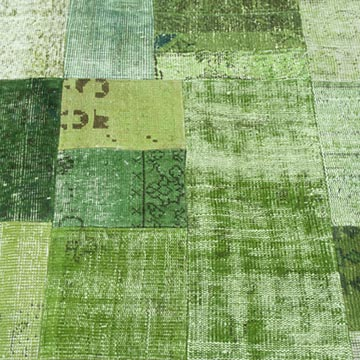"""Green Patchwork Hand-Knotted Turkish Rug - 5' 8"""" x 7' 10"""" (68 in. x 94 in.) - K0018777"""