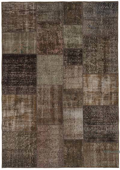 "Over-dyed Turkish Patchwork Rug - 5'7"" x 7'11"" (67 in. x 95 in.)"