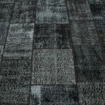 """Black Patchwork Hand-Knotted Turkish Rug - 5' 9"""" x 7' 11"""" (69 in. x 95 in.) - K0018784"""