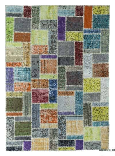 "Over-dyed Turkish Patchwork Rug - 5'8"" x 7'11"" (68 in. x 95 in.)"