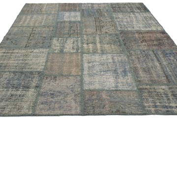 """Blue Patchwork Hand-Knotted Turkish Rug - 5' 9"""" x 7' 10"""" (69 in. x 94 in.) - K0018792"""